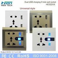 Dual Ports 2 USB Power Adapter universal 5 Pins Wall Plug Socket Mains Charger for iPhone