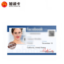 Customized size RFID PVC facebook photo id cards with chip