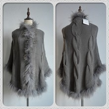 Genuine yarn raccoon knitted fur poncho/ wholesale cheap poncho