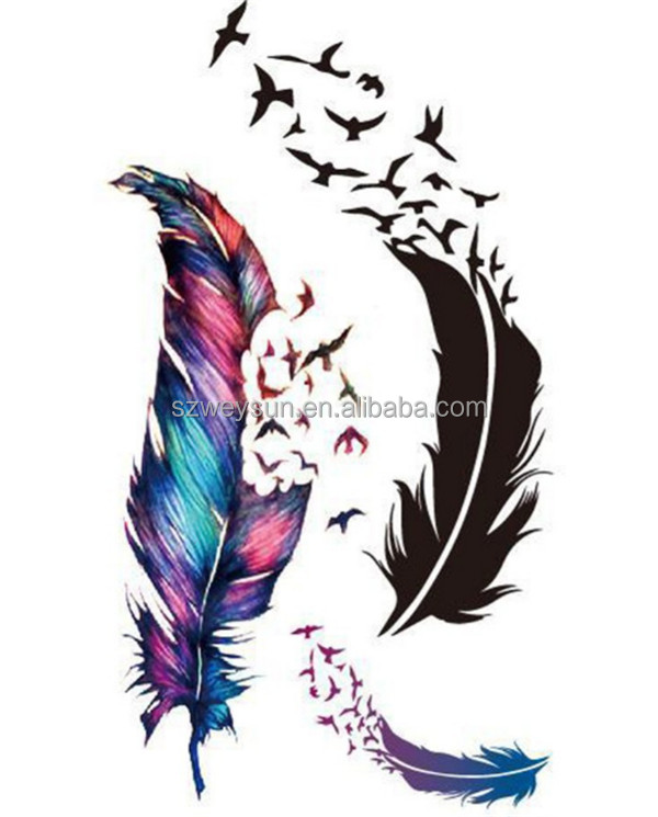 New Waterproof Small Fresh Wild Goose Feather Pattern Temporary Tattoo Stickers Temporary Body Art