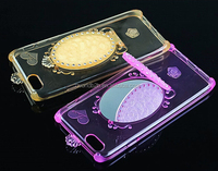 high protective phone case with mirror, solid color TPU make up case with light mirror