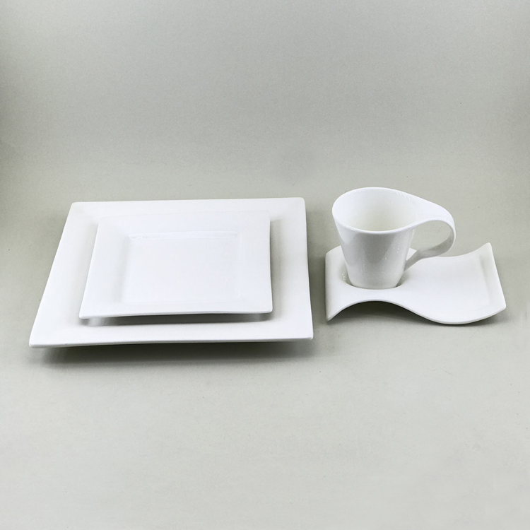 Household breakfast dining used eco ware square cheap white dinner ware for one person