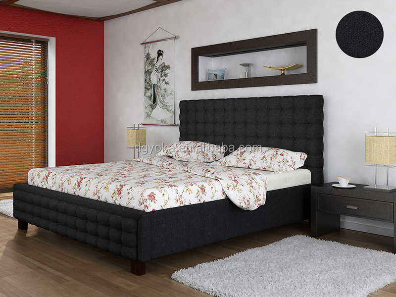 015 super king size modern bedroom furniture artificial faux leather or fabric wing day platform bed with tufted fabric bedstead