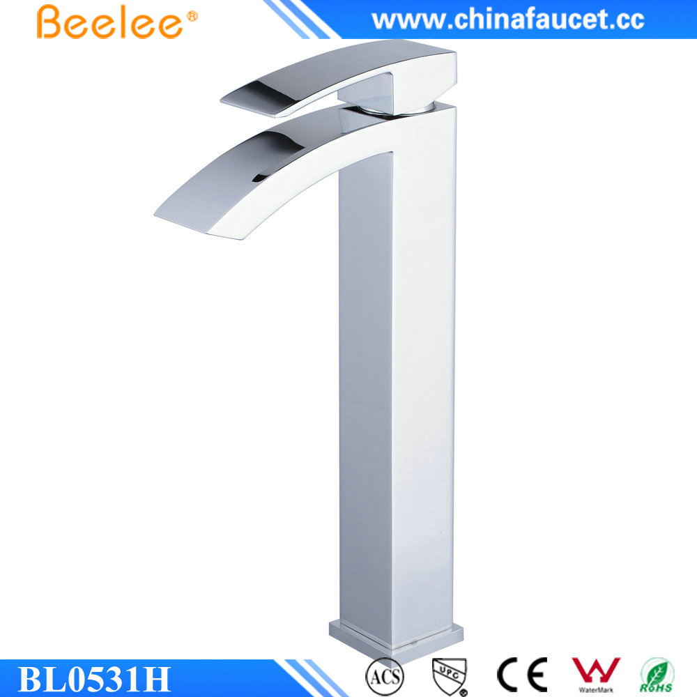 Beelee BL5031H European Style Polished Chrome Brass Mixer Taps Waterfall Basin Faucet for Bathroom