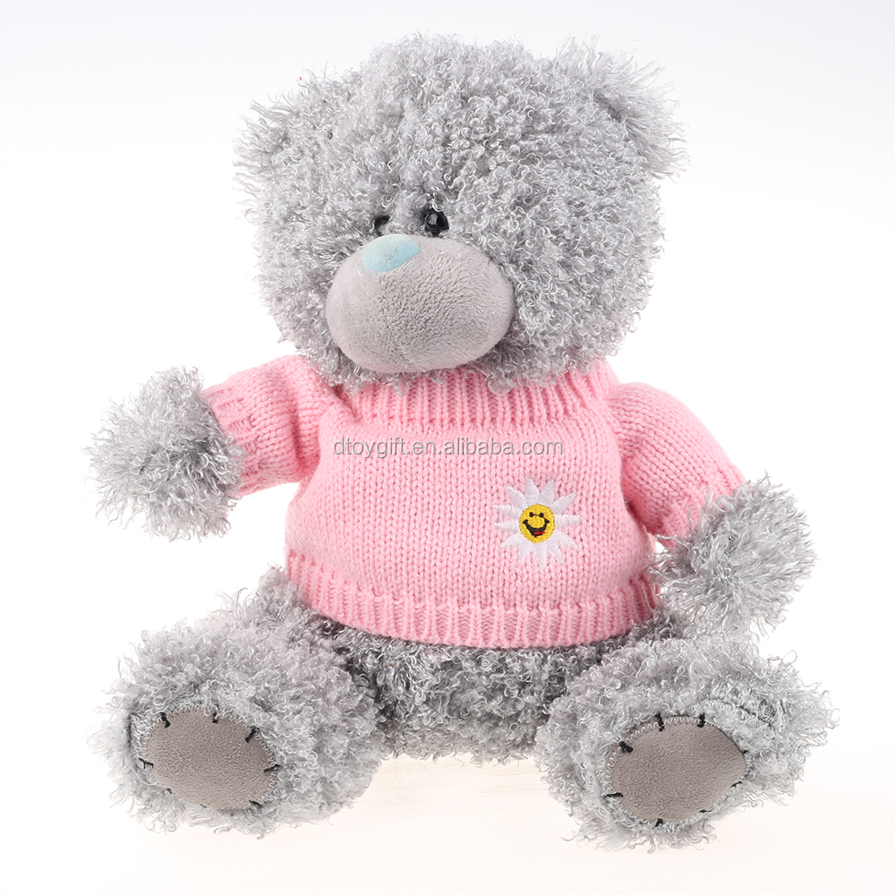 wholesale grey plush teddy bear with knitted pink sweater