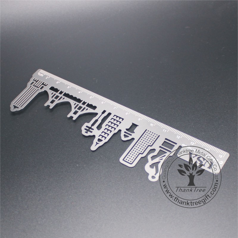 metal commemorate gift wholesale custom stainless steel ruler bookmark with USA symbols cut out