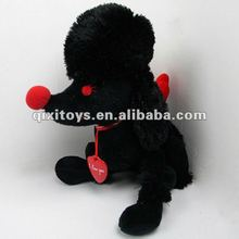 novelty soft cute stuffed and plush black dog toy
