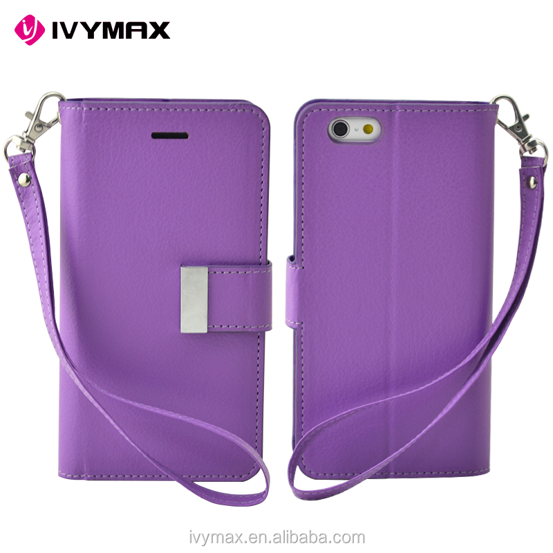IVYMAX high quality cell phone case PU leather wallet mobile case for APPLE iphone6 plus