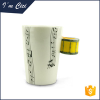 Musical grum decorative mug with special handle ceramic coffee mug