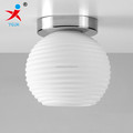 frosted opal white ribbed round glass ball lamp shade