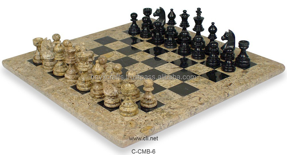 Coral and Black Marble Chess Board in Low price
