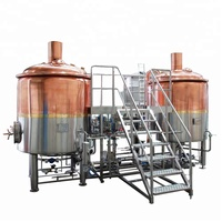 Red copper automatic beer brewing equipment nano mini 3bbl craft brewery beer making machine