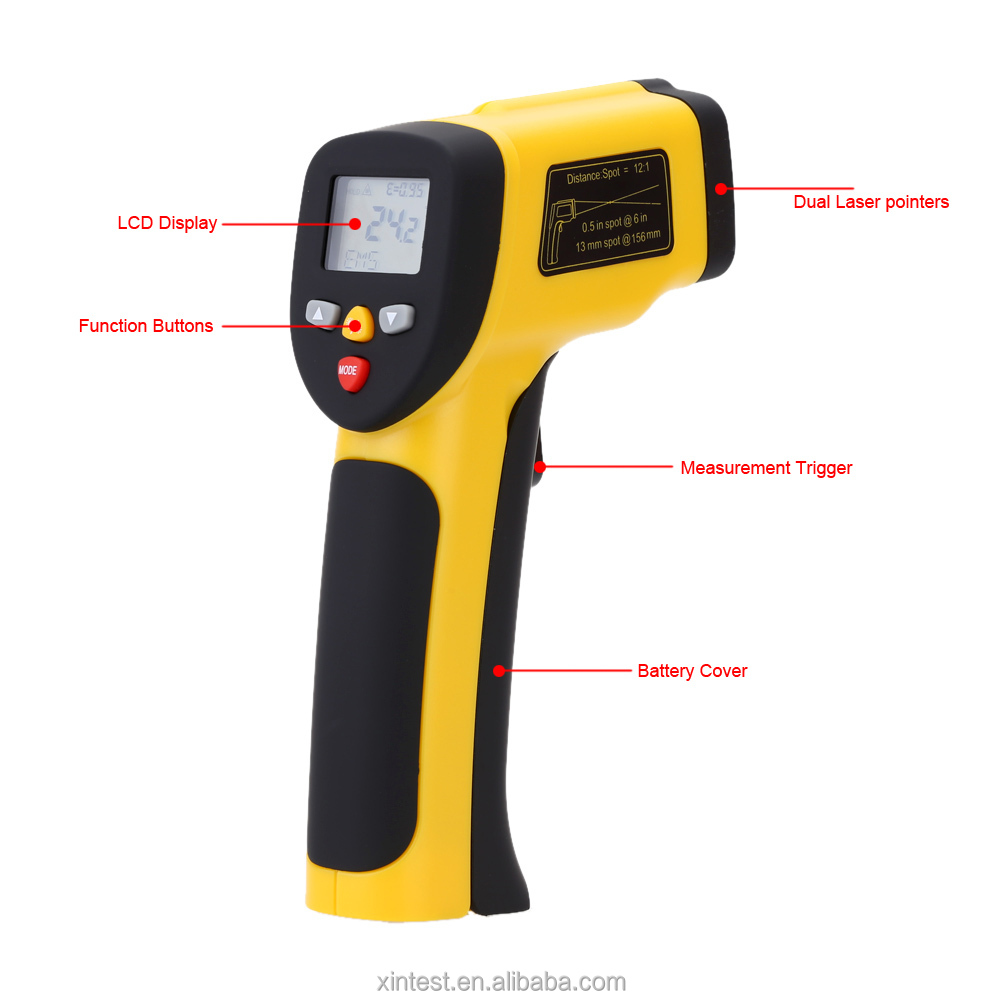 12:1 Handheld Non-contact Digital LCD IR Infrared Thermometer Temperature Tester Pyrometer Adjustable emissivity