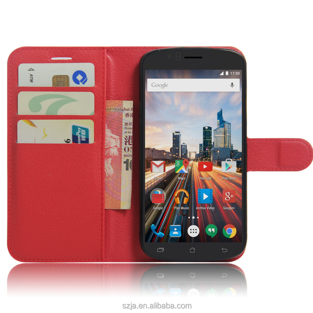 Wholesale Alibaba red pink purple Girl Case Wallet Leather Case for Archos 50e Helium