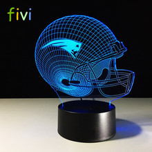 3D Custom Design New England Patriots Logo NFL Team Collection Football Helmet Visual Lamp Home Decor LED Table Lamp Night light