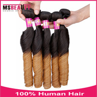 Msbeauty Human Hair Extension 2T Omber Spring Curl Loose Wave Hair High Quality Virgin Indian Hair