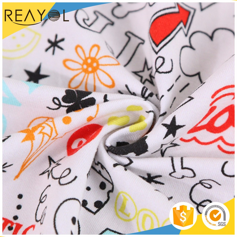 China prouducts lovely design cartoon digital printed knit single 100% cotton jersey fabric