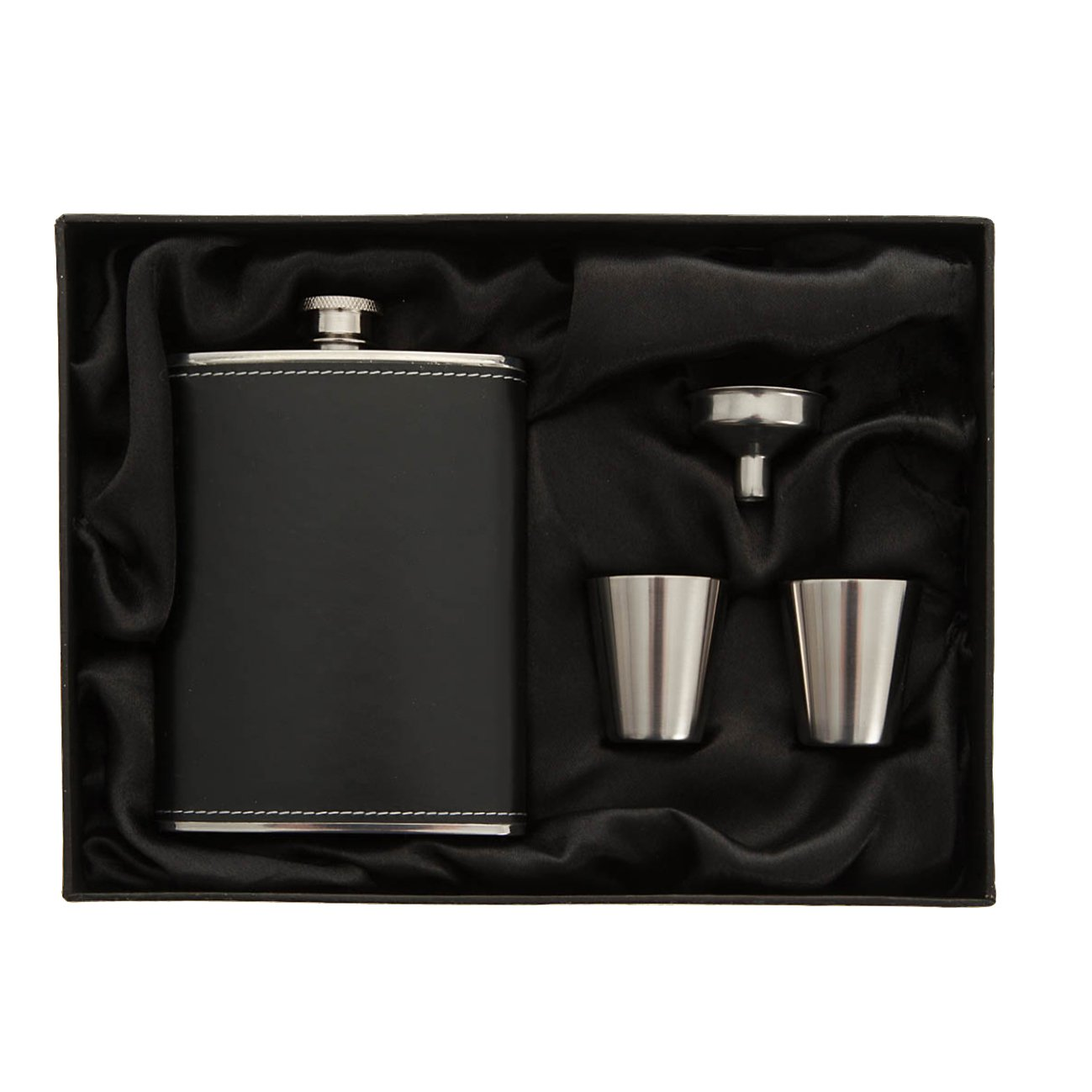 8oz Hip Flask Gift Set Premium Stainless Steel Leather Wrapped Hip Flask Two Shot Glasses And Funnel Set