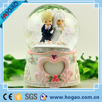 Led Wedding Day Pure Love Bears Blue Snow Globe Ball Water Figurine Ornament