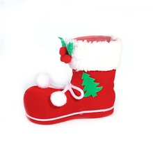 Hot Sale Red Bowknot Christmas Santa Boots Plastic Brush Pot