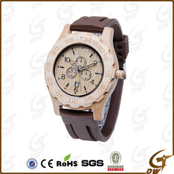 Classical Mens Wood Watch Silicone Band