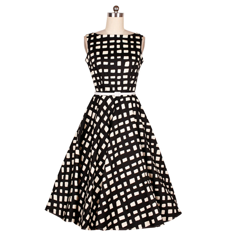 B10585A Women's white and black plaid frock designs rockabilly swing prom vintage dress 50s dress