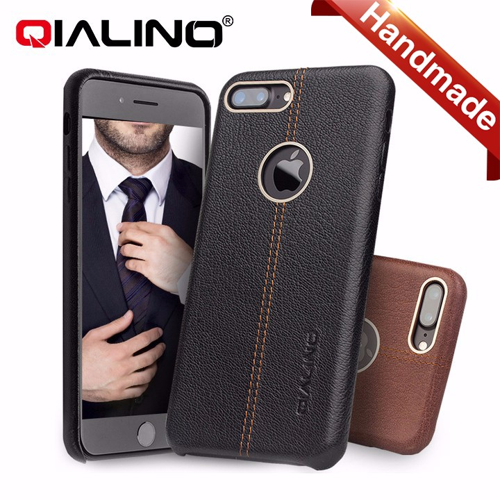 QIALINO real leather shock proof soft touch case for iPhone, super thin full cover leather case for iPhone 7 7plus