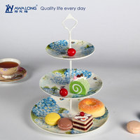 Flower Design Pretty Looking Bone China Novelty Christmas Three Layers Plate Blue Ceramic Cake Plate