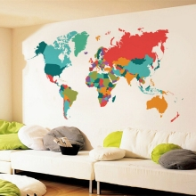 MT1042 Large Size Eco-friendly Removable World Map Wall Decoration Sticker