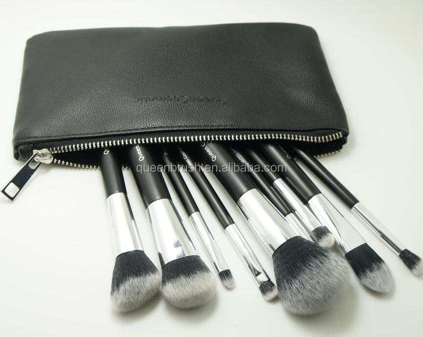 Wooden Hair Brush 9pcs Synthetic Cosmetic Make Up Brush Set