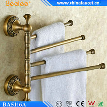 Beelee Wall Mounted Bathroom Swivel Towel Holder Antique Brass Adjustable Towel Bar