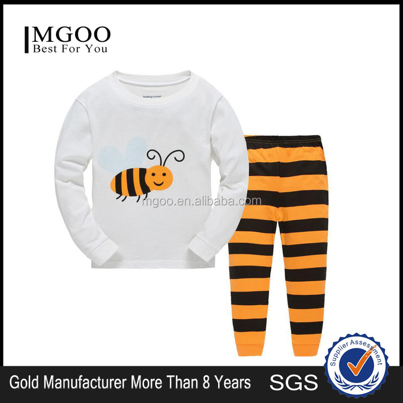 2016 Autumn/Spring/Winter Cotton Sleepwears Child Wholesale Clothing Pajamas Sets With Bee Print Funny Design Clothing Set