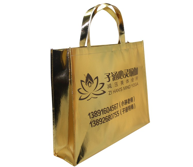 Wholesale Fashion Style Gold Metallic Pp Non-Woven Tote Shopping Bag