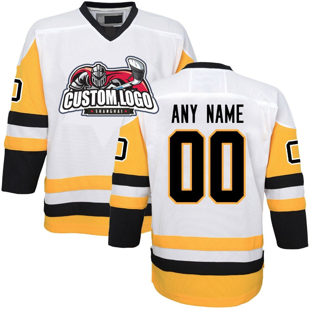 100% Polyester Embroidery White Pittsburgh Penguin Ice Hockey Jersey