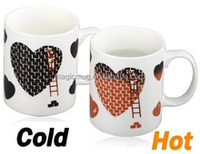 Product Distributor Opportunities 11oz Heart Print Color Changing Mug (White)