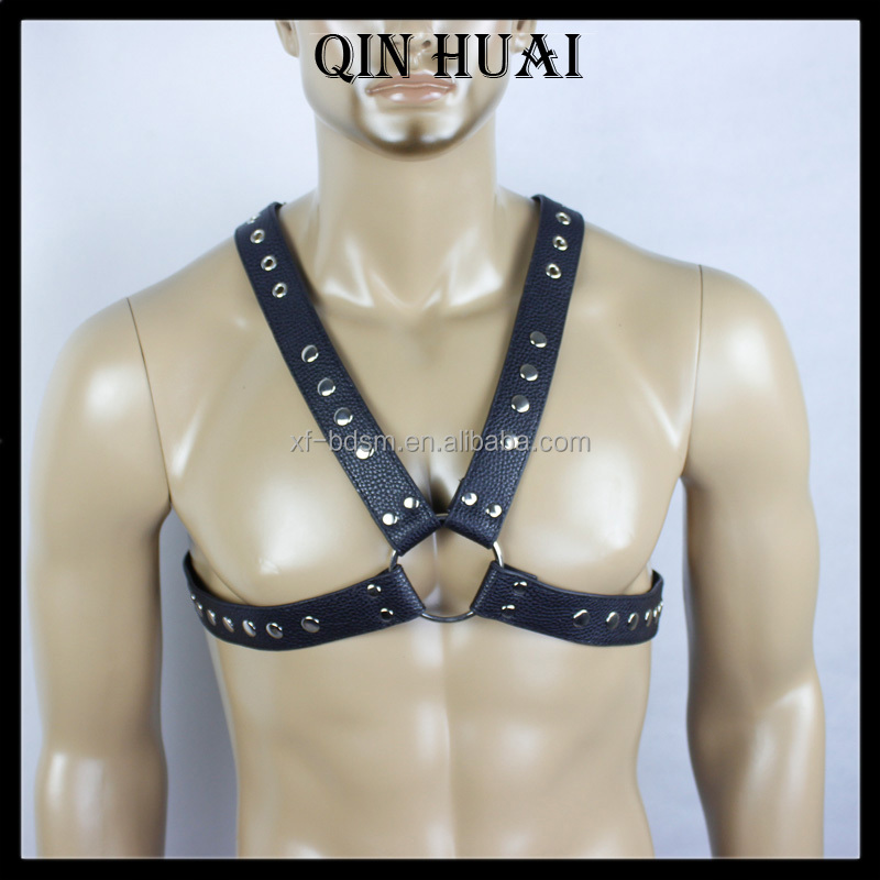 men chest harness Adjustable Sexy dress man Black Adult Costume PU leather Top for Erotic Body Bondage Stud Vest