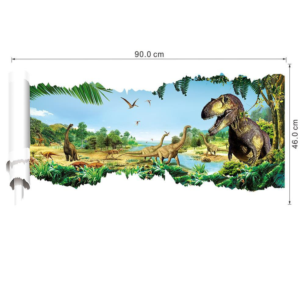 3d dinosaurs wall stickers jurassic park home decoration DIY cartoon kids room animals decals movie mural art posters