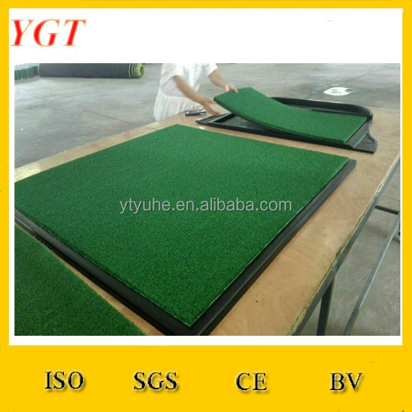 Wholesale Woven Nylon Grass Golf Rubber Mat with Ball Tray / Professional Training Golf Putting Mat