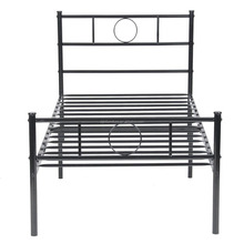Aingoo Single Metal Platform Bed Frame with Headboard for Children Adults Black