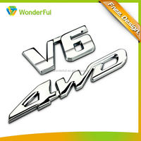 Best Selling Car Accessories High Quality Replacement Part Chrome V6 4WD Letter Self Adhesive Durable Custom Metal Car Emblem