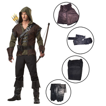 Men's Robin Hood Green Arrow Costume for Halloween Dress Up Party
