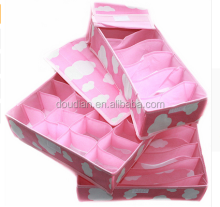 Pink Foldable Fabric Underwear Organizer Clothing Storage Box