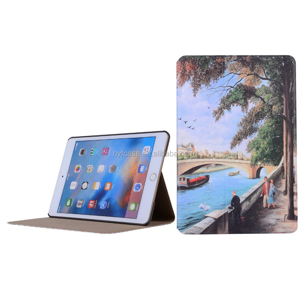 oil painting smart case for ipad mini 4 cover,for ipad mini 4 leather cover case,for ipad case