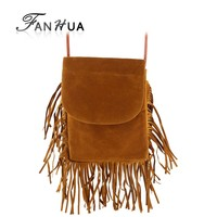 Bohemian Style Black Brown Gray Color Pu Leather Multifunction Tassel Messenger Bags OL Lady Shoulder Bag Folding Handbags