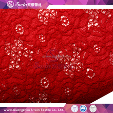 Fashion Jacquard Floral Promotional red lace material Nylon Spandex African lace knitting Shiny Lace fabric