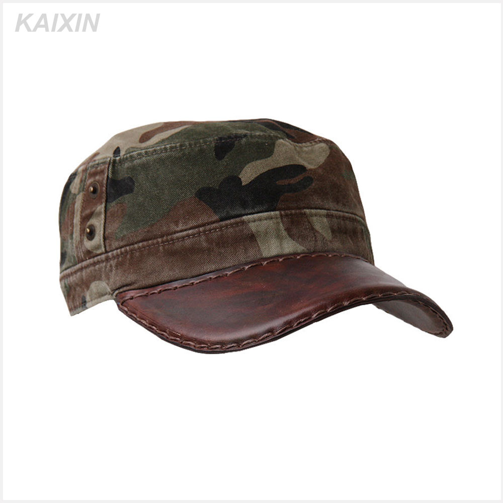 fashion cheap adjustable blank flat top camouflage snapback manmade leather brim military ball cap with your own design