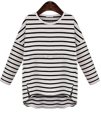 ladies fastion tops custom stripe t shirt for women casual style