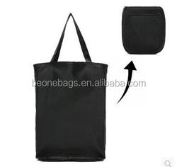 Hot sale black supermarket tote nylon foldable shopping bag