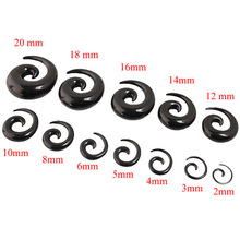 Body Jewelry Acrylic Spiral Taper Tunnel Ear Stretcher Plugs Expanders Pircing Jewelry Black Drop Ship ear plugs
