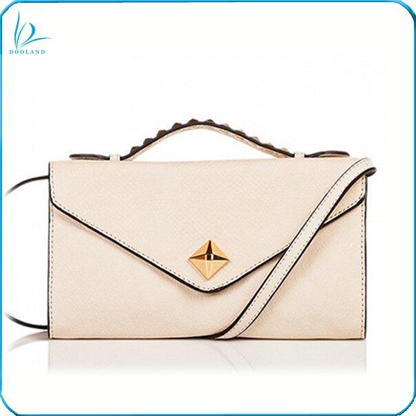 2014 Elegant fashion design small studded ladies leather vanity shoulder bag